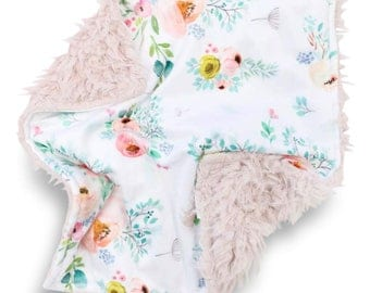 Sammie's Sweet Floral Minky Baby Girl Lovey | Light Green and Blush Flower Security Blanket | Mini Baby Blanket | Faux Fur Lovie