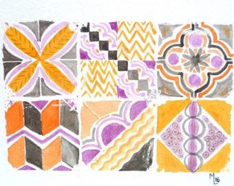 Original watercolor, orange tiles, violet, anthracite, mosaic, azulejo,