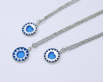 Necklace gear or heart pendant in blue-silver, a silver-colored link chain made of stainless steel steampunk jewelry-jeans blue Pendant