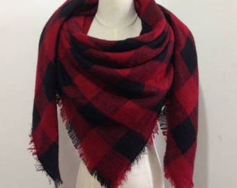 Black and Red Plaid #2 - Blanket Scarf