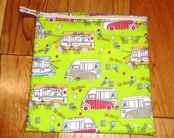 Sandwich bag  - Baggie - Eco - Snack Bag - Bikini Bag - Lunch Bag - Tool Bag - Large Poppins Waterproof Lined Zip Pouch - Ice Cream Van