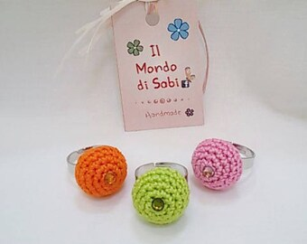 .20 mm bubble ring, crocheting with Swarovski Crystal