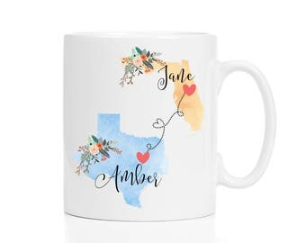 Two State Mugs / Long Distance Mug / Personalized State Mug / Long Distance Friendship Mug / Two State Friend Mug / 11 or 15 oz