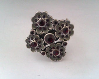 vintage enamel and red stone PILGRIM ring