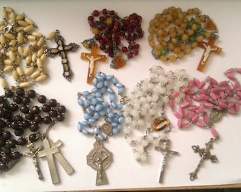 7 vintage prayer/rosary beads necklaces