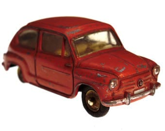 Rare Dinky Toy Car Vintage Fiat 600 Red Color Diecast 1:43 made in France 1960s