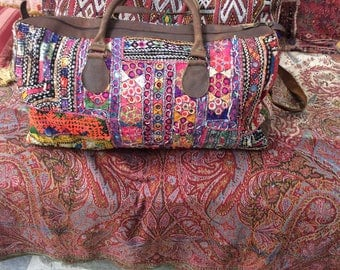 Boho handmade leather handled Indian embroidery/carpetbag/weekend/overnight/luxury luggage/gift for her/him