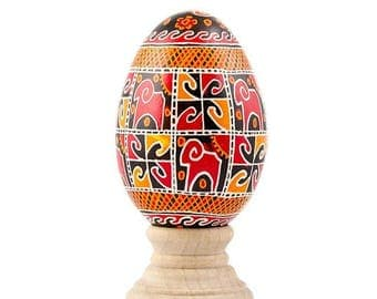 Rams Real Goose Eggshell Hand Decorated Ukrainian Easter Egg Pysanky