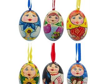 "3"" Set of 6 Ukrainian and Russian Matryoshka Doll Wooden Christmas Ornaments"