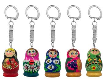 "1.75"" Set of Five Assorted Matryoshka Wooden Russian Nesting Dolls Key Chains"