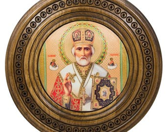 "10"" St. Nicholas Icon on Wooden Hand Carved Plaque"