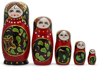 "6.5"" Set of 5 Red & Black Wooden Russian Nesting Dolls Matryoshka"