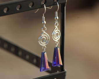 Dark Blue, Spiral, Dangle Earring