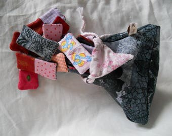 set of dominoes in fabric and a bag for girl