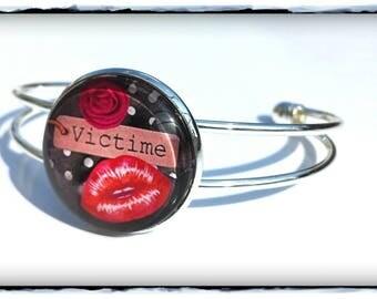 Glass cabochon Bangle bracelet costume jewelery * victim *-DESTASH