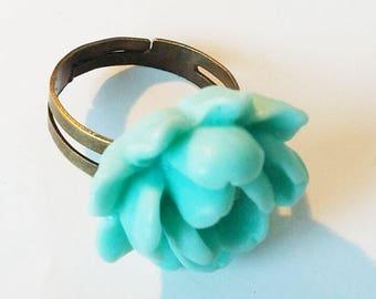 Adjustable ring cabochon resin - light blue