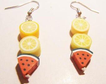 Earrings fimo polymer lemon orange watermelon ♥ ♥