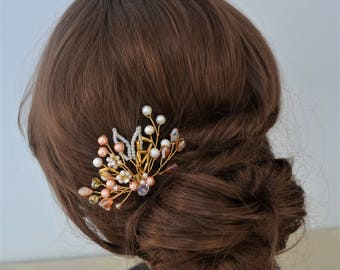 Bridal hair pin, gold freshwater pearl and crystal hair piece, bridesmaid hair pin