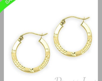 1.5mm Leaf Design Hoop Earrings In 14k Yellow Gold Now On Sale