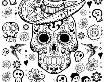 Day of the Dead Coloring Page Printable Instant Download
