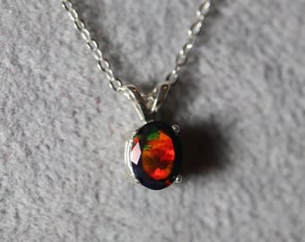RED and GREEN vivid fire, black opal necklace, black opal pendant, black fire opal pendant, opal necklace, genuine black opal, opal pendant