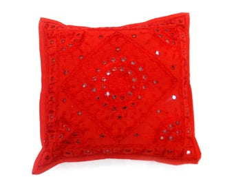 """Indian Pure Cotton Cushion Cover Home Mirror Work Decorative Red Color Size 17x17"""""""