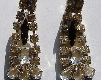 1950S   DROP DIAMANTE earrings for pierced ears