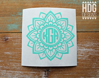 Monogram Decal - Flower Decal - Vinyl Decal - Mandala Decal - Yeti decal - Monogram Sticker  - Car Decal - RTIC decal - Yeti Sticker - decal