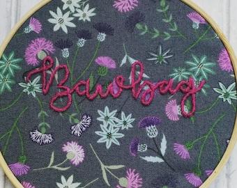 Scottish novelty gift, bawbag gag gift, thistle embroidery, joke scotland hoop, secret santa gift, joke stocking filler, silly gift for her