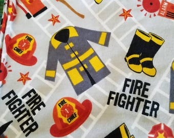 Firefighter flannel baby receiving or swaddling blanket