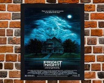 Framed Fright Night Horror Movie / Film Poster A3 Size Mounted In Black Or White Frame