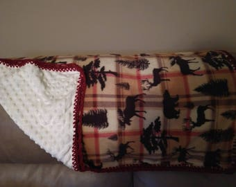 Rustic red and white crochet baby blanket