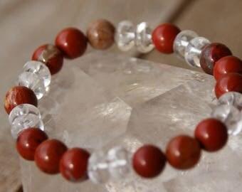 Red Jasper and quartz Bead Bracelet