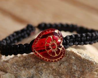 Bracelet shamballa black nylon thread
