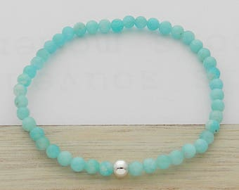 Amazonite stone and silver ball bracelet