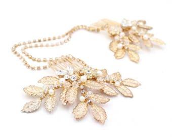 Gold Leaf Hair Chain, Bridal Hair Chain, Wedding Hair Chain, Hair Accessories, Bridal Hair Comb, Leaf Hair Chain, Gold Leaf Hair Comb