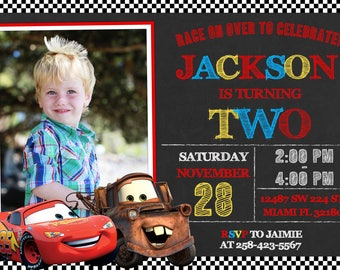 Disney Cars Invitation Birthday Disney Cars Party
