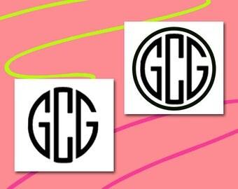 Monogram Decal - Custom Name Decal - Monogram Sticker - laptop decal- all surface decal - vinyl - vinyl decals