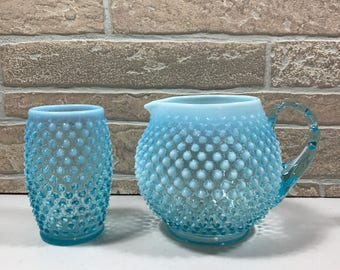 Fenton Blue Opalescent Hobnail Squat Pitcher with Matching Tumbler/Glass