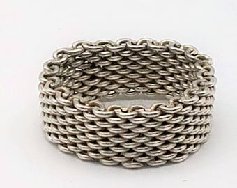 Tiffany-Style Flexible Sterling Silver Mesh / Chain Link Ring - Size 7.5