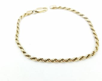 """Vintage Gold Over Sterling Rope Chain Bracelet Signed IW, Made in Italy - 7"""""""