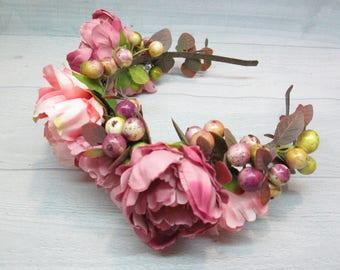 Pink flower girl Pink wedding Flower girl flower Pink flower crown Flower girl hair Wedding flower crown Gift|for|girl Flower hair wreath