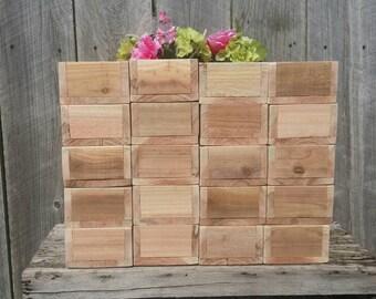Set of 10 Rustic Boxes, 4 Mason Jar Wood Holder, Planter