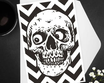 Greeting Card, Curious Skull, Happy Birthday Card, Stationery, Note Card, Funny Birthday Card, Birthday Greetings, Humor, Macabre, Skeleton