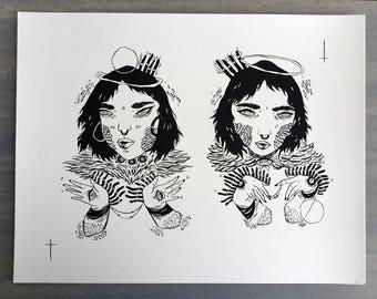 "Twins Art Print    8.5x11""    Black and white print, ink illustration, archival"