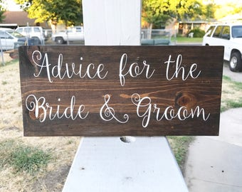 Advice For The Bride and Groom Wood Sign / Wedding Decor / Rustic Wedding / Bride and Groom / Signs / Wedding
