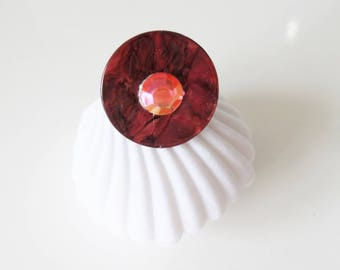 Red Garnet ring mother of Pearl