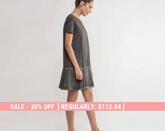 t shirt  dress,summer Dress,grey short dress,short sleeve Dress,mini dress,summer fashion,drop waist dress,grey t-shirt dress,ruffle dress