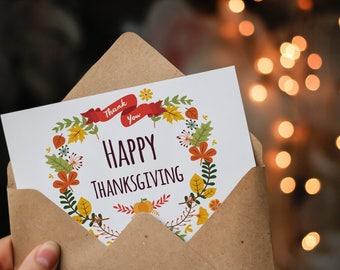 Happy Thanksgiving, pretty eCard, digital download, print ready