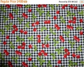 20% Off Fruit Basket Screen Print D # 6695 - Cherry Clusters on Black and White Gingham Checked Background 100 Percent Cotton - Half Yard